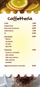 Menu per Pasticceria Caffetteria